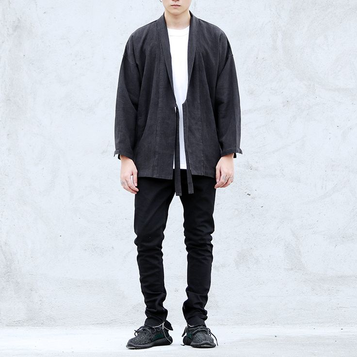 Japón hip hop abrigo rompevientos moda kanye ropa etapa desgaste para hombre europeo negro/marrón ropa de mezclilla chaqueta kimono