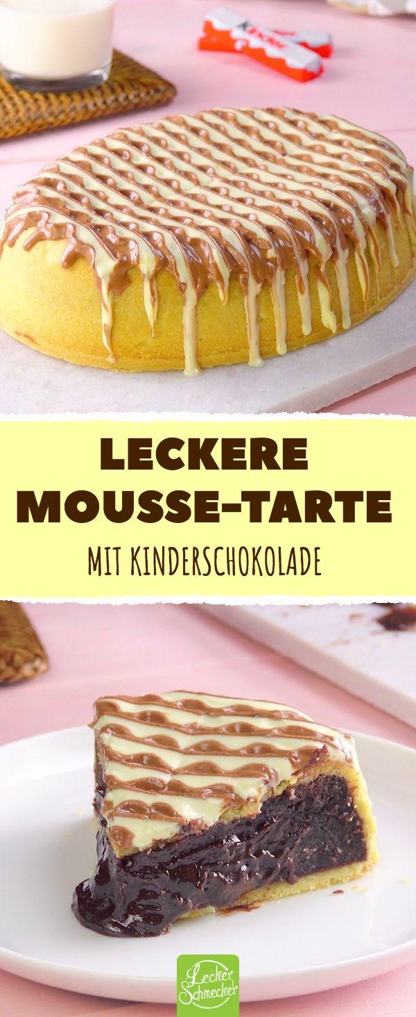 Leckere Mousse-Tarte Mit Kinderschokolade #rezepte #schokolade #mousse #tarte #k…