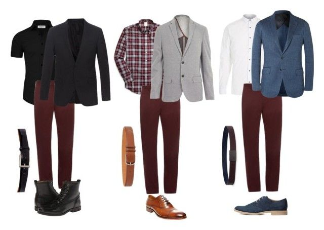 """Men burgundy style pants"" by baloure on Polyvore featuring River Island, Burberry, H&M, Brooks Brothers, Steve Madden, Orciani, Armani Collezioni, Magnanni, Lanvin and Frye"