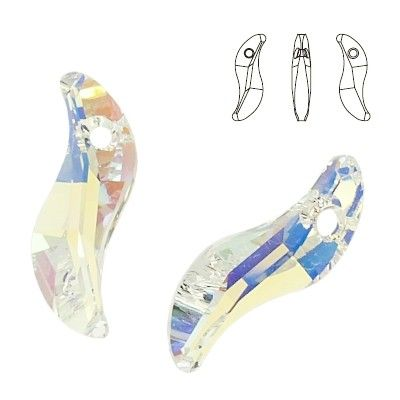 6525 Wave 28mm Crystal AB  Dimensions: 28,0 mm Colour: Crystal AB 1 package = 1 piece