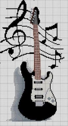 Electric guitar & musical notes Cross stitch
