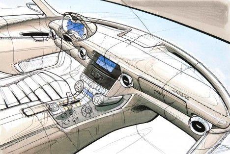 Mercedes-Benz SLS AMG car interior sketch