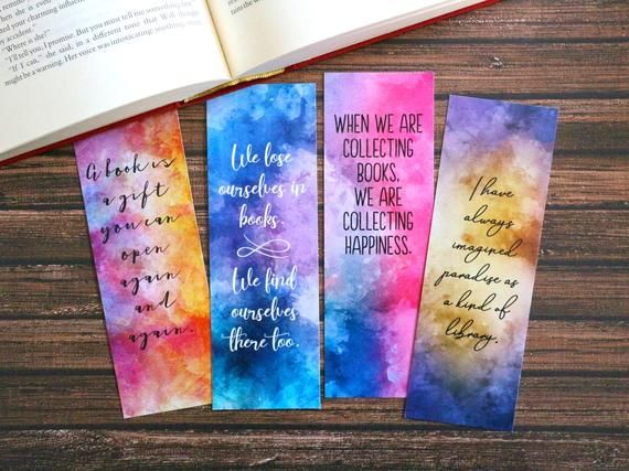 Watercolor Bookmark Printable Bookmarks Book Quote Bookmark
