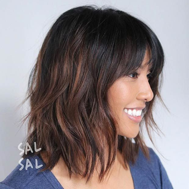 Long Bob Haircut with Bangs