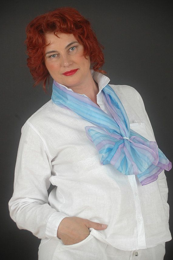 Hand painted silk scarfPlenty streaks pastel blue by SilkAndLove