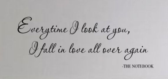 THE NOTEBOOK Quote Everytime I look at You I fall in by wallstory, $28.00 I need to get this !