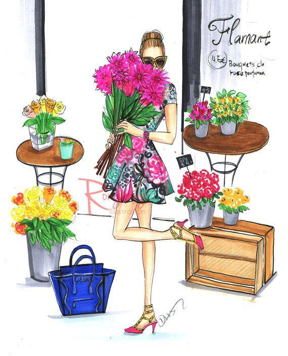 Spring Fashion illustration,Fashion wall art,Fashion sketch,Chic wall art, Fashion print,Titled,All that flowers