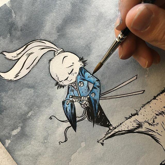 WEBSTA @ anthonywheelerart - Painting Usagi Yojimbo!  Just a little sneak peek.  #Giantkillerbunny #watercolor #wip #process #art #drawing #illustration #paint #darkhorse #comics #cartoon