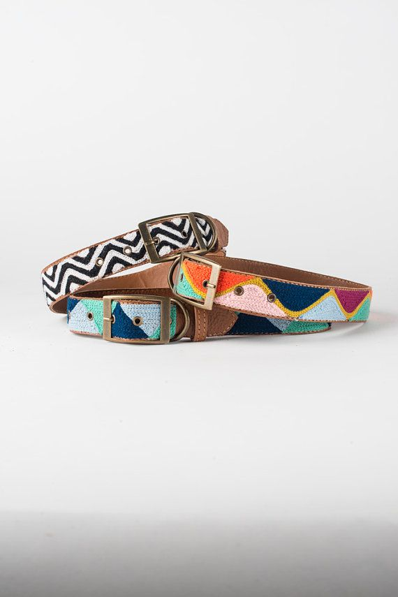 Multi Color Wave Leather Embroidered Dog Collar by by fillydogco