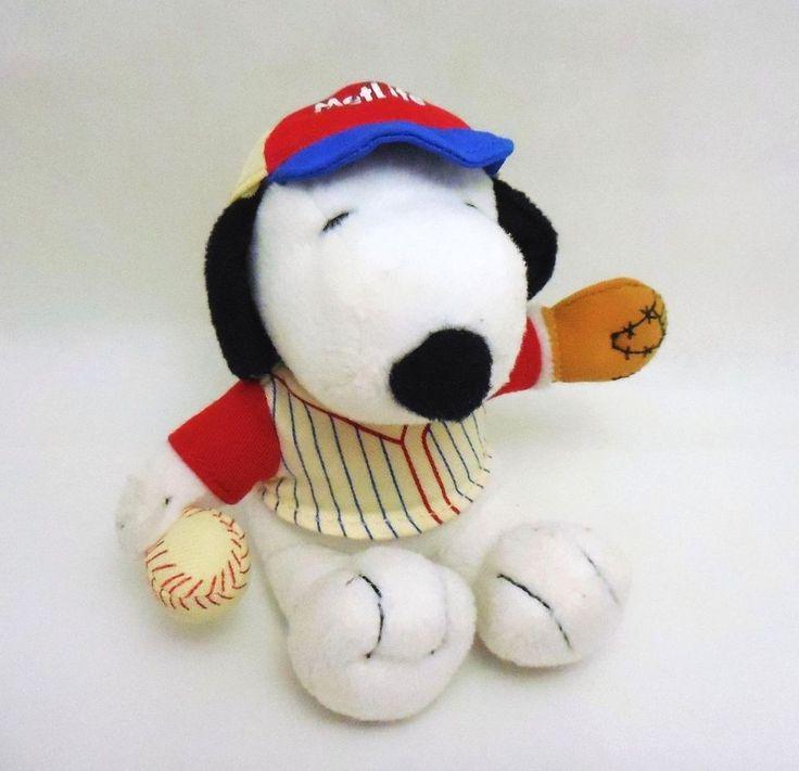 Metlife Snoopy Baseball player, plush stuffed toy animal, Charlie Brown Peanuts