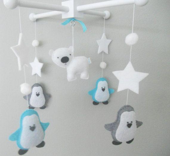 Baby Crib Mobile-Penguins Mobile No10-Polar Bear by LincKids