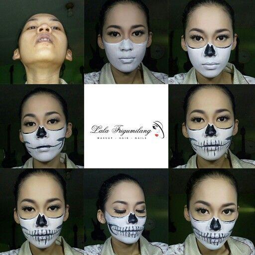 Half skull  face painting