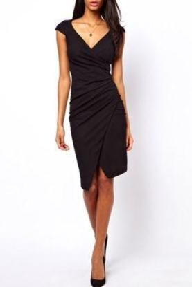 This Asymmetrical Bodycon Dress would be ultra flattering on an hourglass shape! $25