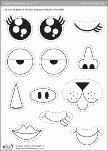 """""""My Funny Valentine"""" downloadable worksheet for practicing parts of the face, from Super Simple Learning."""