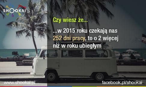 Najwięcej, bo aż 23 dni, przepracujemy w lipcu, a najmniej, tylko 20 dni, w styczniu, lutym, maju, sierpniu i listopadzie.  Źródło: http://kariera.forbes.pl/ile-dni-pracy-czeka-nas-w-2015-roku,artykuly,188049,1,1.html