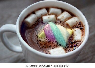 Cup Of Hot Coffee With Marshmallow Breakfast Brown Bubbles