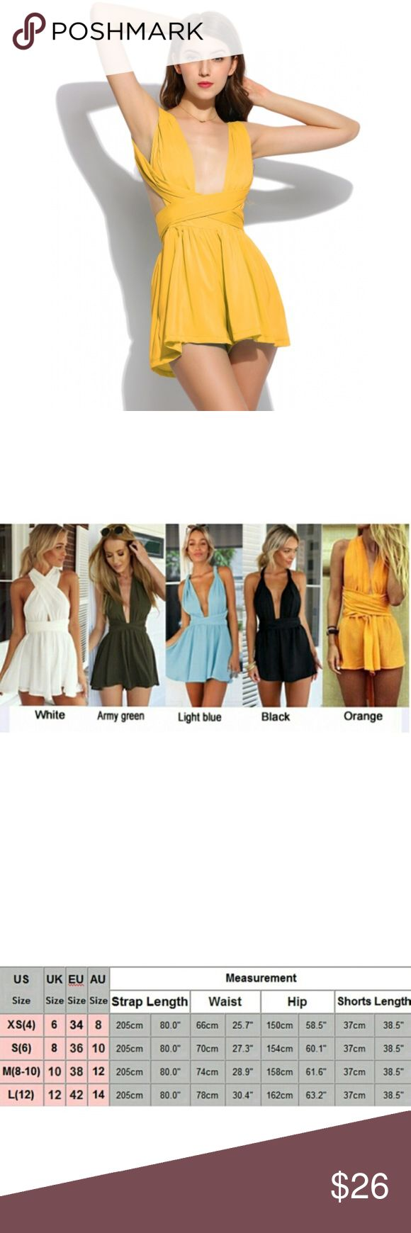 ✨COMING SOON✨ Yellow Multi Way Romper These rompers are amazing. With the high waisted shorts and the straps that can be wrapped any way will allow you to go out and get tons of compliments for the night or just dress up for fun.  ✨10% off bundles of 3+ items ✨Price is firm ✨No trades, holds or off Posh transactions Dresses