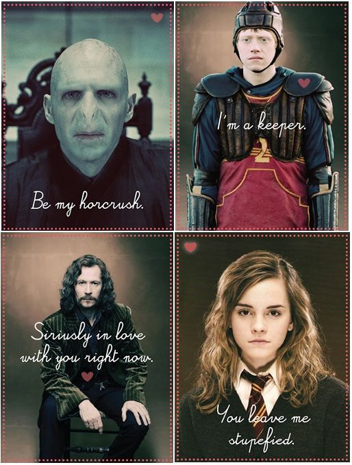 Harry Potter Valentine Cards Puns Literary Valentine HP J.K. Rowling Horcrush lol