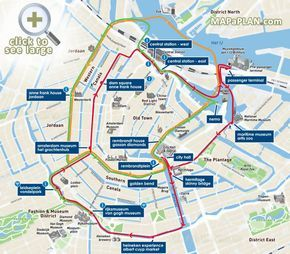 Canal Bus canal cruises with Red Orange Green lines Amsterdam top tourist attractions map