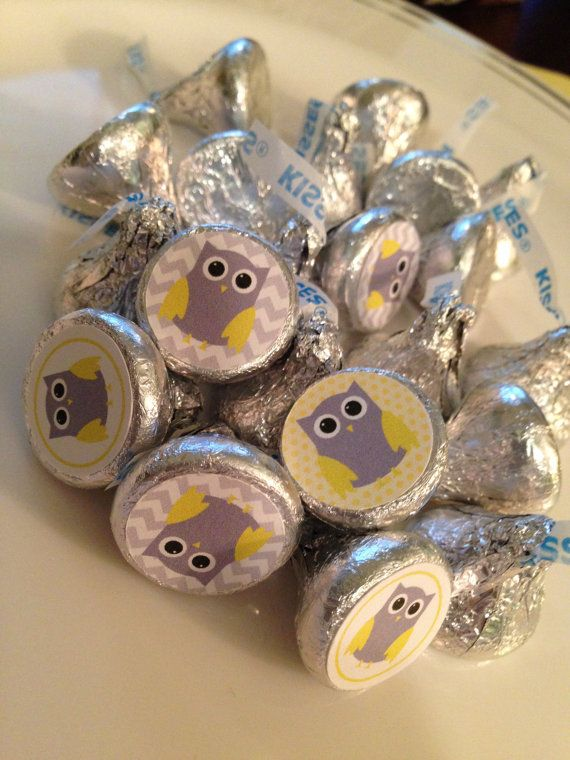 88 OWL Themed Hershey Kiss Stickers - Owl Baby Shower, Owl Birthday Party - on Etsy, $5.00