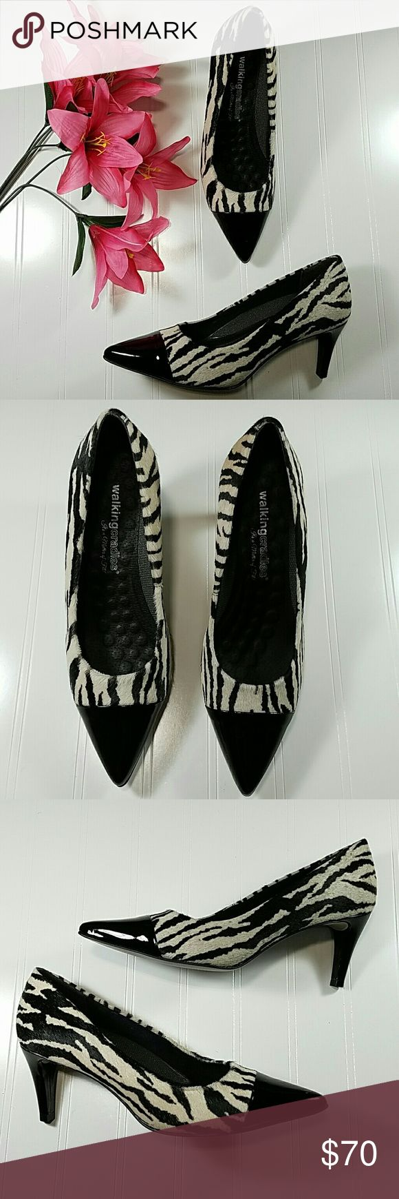 Walkingcradles zebra heels Zebra print heels with pointed toe. Black and cream color.Toe and heel are black. Zebra print has a further look and feel. 2 1/2 in heel.  NWT. Sz 8M Walkingcradles  Shoes Heels