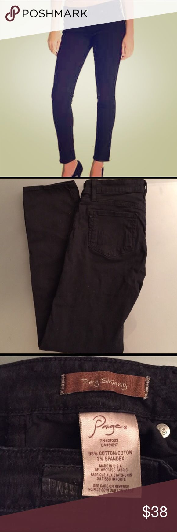 Peg Skinny Paige premium denim - black Gently worn - still in very good condition! When laid flat, the ankle opening is 6 inches across. Inseam is 27.5 inches. Paige Jeans Jeans Skinny