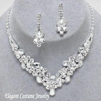 Clear Bridal Crystal Formal Prom Necklace Set Elegant Jewelry #7540 $20.99 www.ElegantCostumeJewelry.com