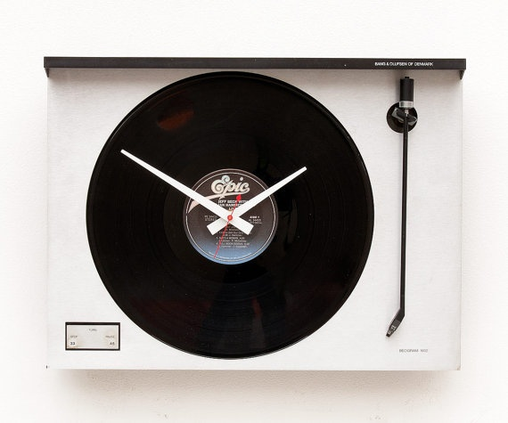 Clock created from a recycled Bang Olufson Turntable