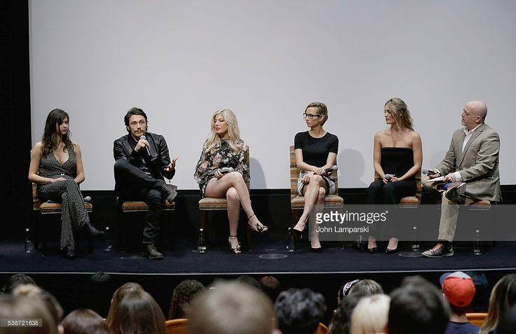 (L-R) Amber Coney, James Franco, Tori Spelling, Melanie Aitkenhead, Leila George and  moderator Matt Zoller Seitz attend 'Mother, May I Sleep With Danger?' New York screening at Crosby Street Theater on June 7, 2016 in New York City.  (Photo by John Lamparski/WireImage)