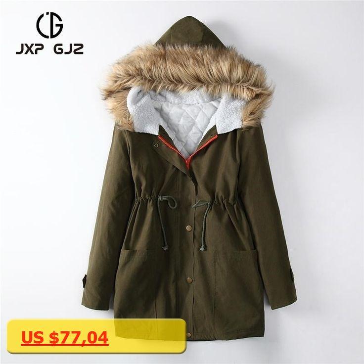 JXP GJZ 2017 Winter Women Jacket Coat Parka Black Zipper Full Sleeve Thick Hooded Parkas Regular Size Parkas Femme S XXL