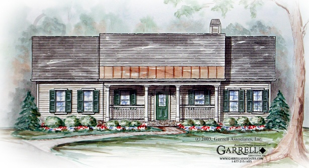 Country Cottage House Plan # 01080, Front Elevation, Ranch Style House Plans, One Story House Plans
