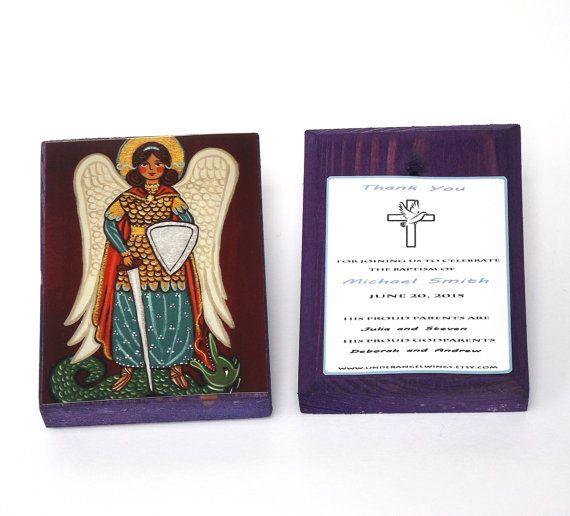 St Michael prayer wood block print Saint Michael print on wood St Michael police Christening favors Personalized favors Angel art blocks