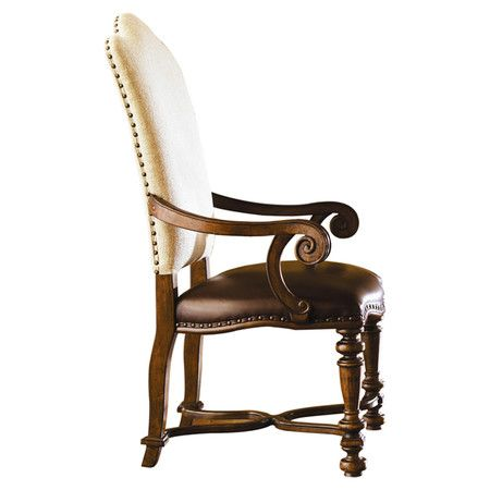 At Once Regal And Rustic This Nailhead Trimmed Arm Chair