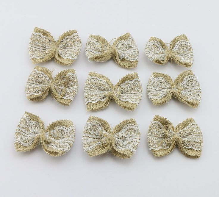 Pack of 10 Handmade Burlap Bows with Lace Ribbon DIY Craft Scrapbooking (Style -1) ** Check out the image by visiting the link.