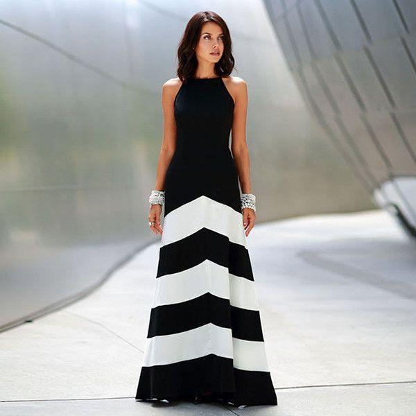 Старинные женщин черный белый шеврон полосатый макси платье недоуздок образным обтяжку подходят вспышка пересечь назад длинный халат этаж платье ну вечеринку пляж платьекупить в магазине Frler Lady Fashion StoreнаAliExpress