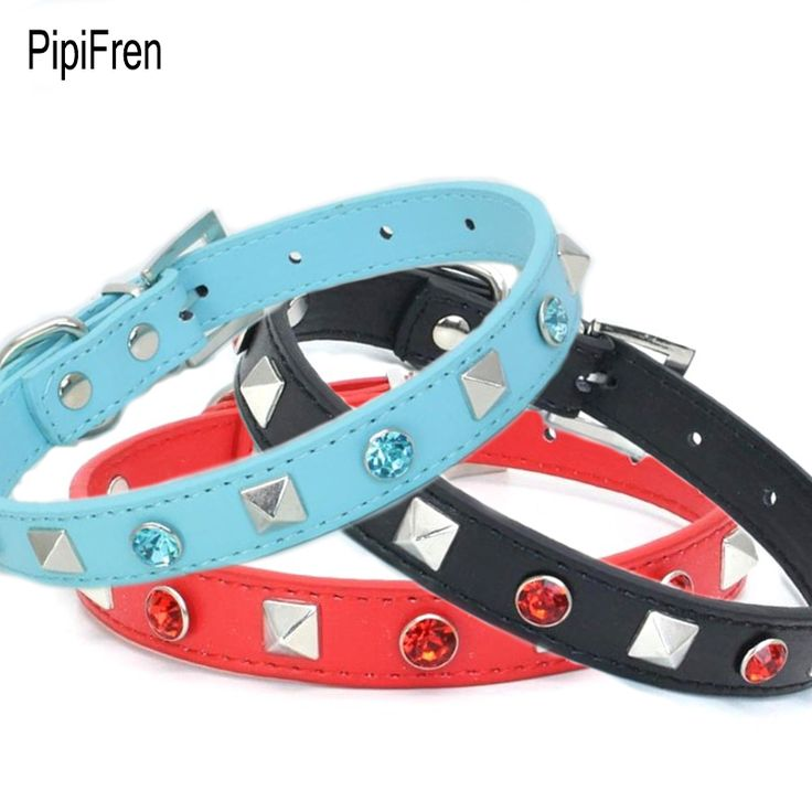 PipiFren Cats Collars Dogs Spiked Rivet Rhinestone For Pets Cat Collar Necklace Accessories katzenhalsband collier chat animaux