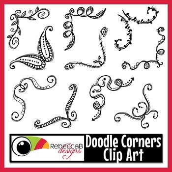 This Doodle Corners Clip Art Set contains 10 black line, doodled photo or page…