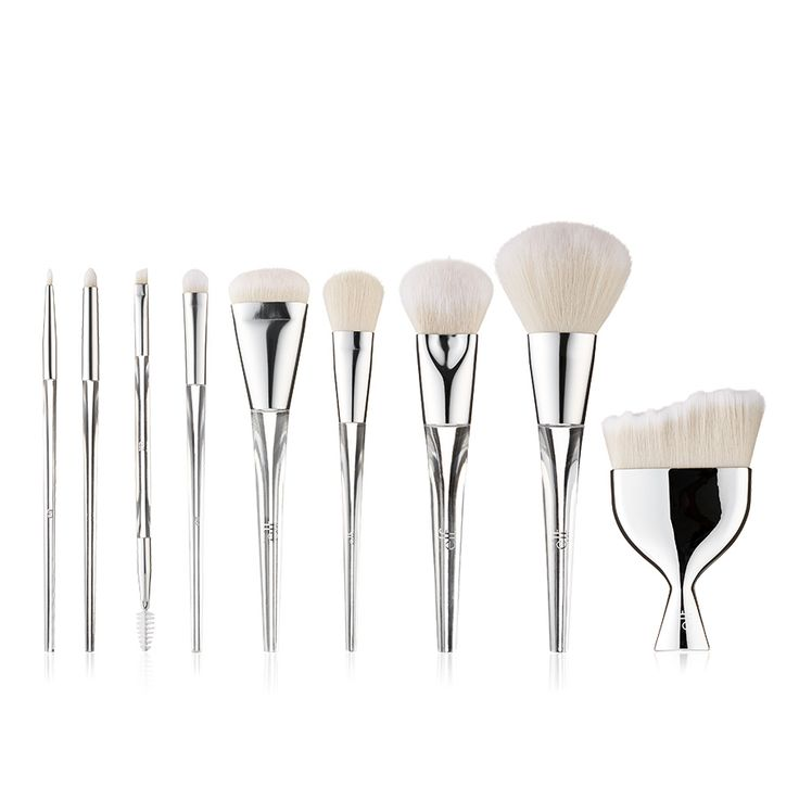 Beautifully Precise Brush Collection   e.l.f. Cosmetics   1. Multi Blender Massager, 2. Airbrush Blender, 3. Powder Brush, 4. Sculpting Brush, 5. Airbrush Stipple, 6. Eyeshadow Brush, 7. Smudge Brush, 8. Eyeliner Brush, 9. Dual Sided Eyebrow Brush