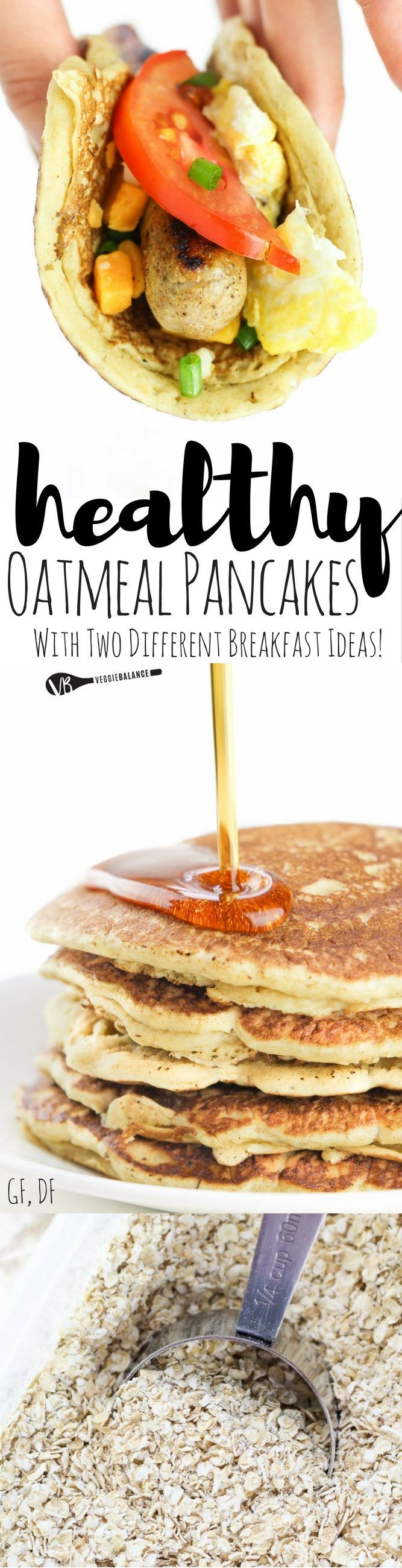 Oatmeal Pancakes recipe for delicious pancakes you can eat two ways. #BRMOats /bobsredmill/ #ad