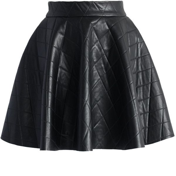 Chicwish Quilted Faux Leather Mini Skater Skirt in Black ($37) ❤ liked on Polyvore featuring skirts, mini skirts, bottoms, saias, faldas, black, vegan leather skirt, circle skirt, skater skirt and quilted skirt