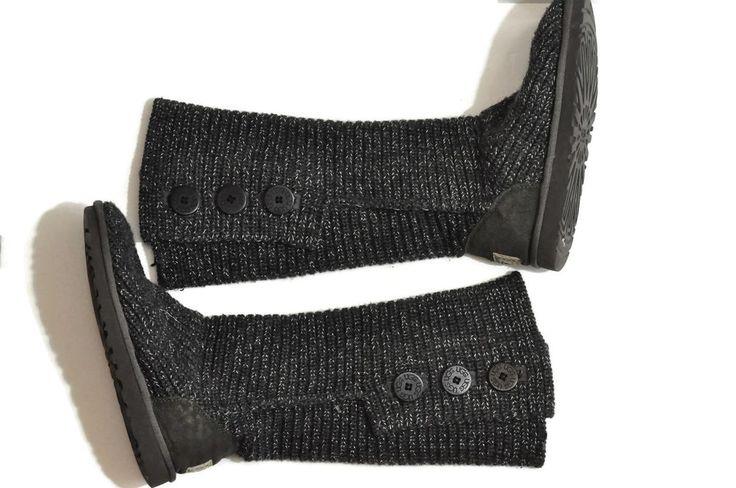 UGG Classic Cardy Boots Gray Size 8 Cardi Knit Australia Sheepskin Wool F3010H  #UGGAustralia #FashionKneeHigh