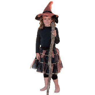 Costume con cappello a punta gonna di tulle colore nero e arancione con fasce dorate.  Taglie: 6 - 8 anni