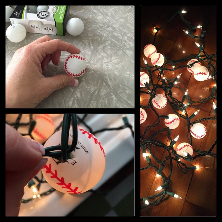 Using a red Sharpie, draw stitching on the Ping pong balls to create a baseball. Cut an x and pop over the lights. It's that easy and inexpensive. I paid $1.56/6 balls. I used the lights for my STL Cardinals Christmas tree!