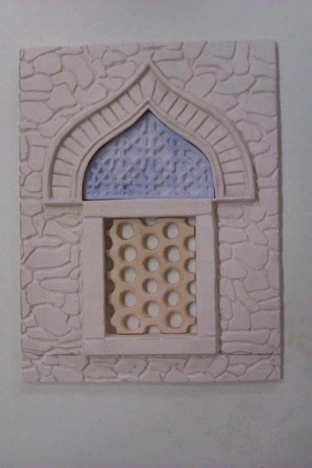 I made all of the plate traceries, at the windows:)The white material is plaster, the blue is dental plaster, the beige is wood.../Én készítettem az összes áttörést a Dzsámi ablak részén, a fehér gipsz, a kék fogorvosi gipsz, a bézs színű fa:9 Németh Hajnal Auróra