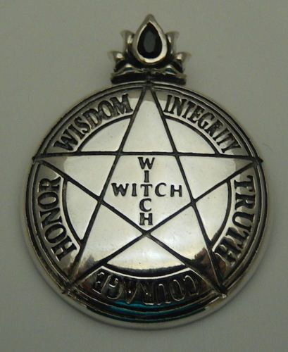 WITCH PENTACLE Pendant Sterling Silver Magick High Priestess PENTAGRAM amulet