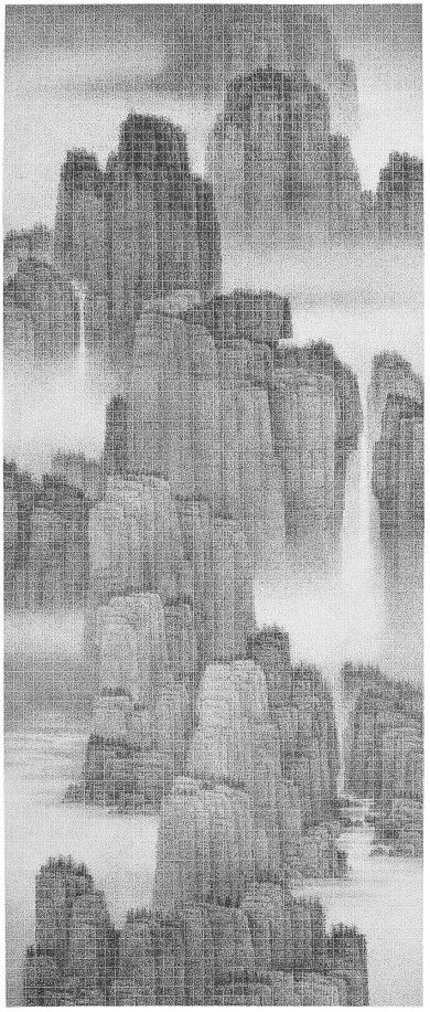 Chun Yi Lee Here, the Scenery is particularly Fine Ink on paper