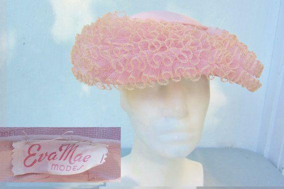 EVA MAE MODES Vintage 50s Ruffled Ballerina Pink  hat @ HatsForward
