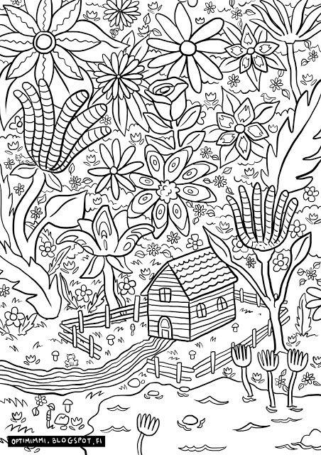 OPTIMIMMI | A free coloring page of a flower-filled paradise / Ilmainen värityskuva kukilla täytetystä paratiisista