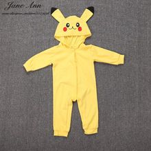Baby pikachu costume halloween baby clothes infant toddler long sleeve yellow hooded cartoon jumpsuit purim christmas gift(China (Mainland))