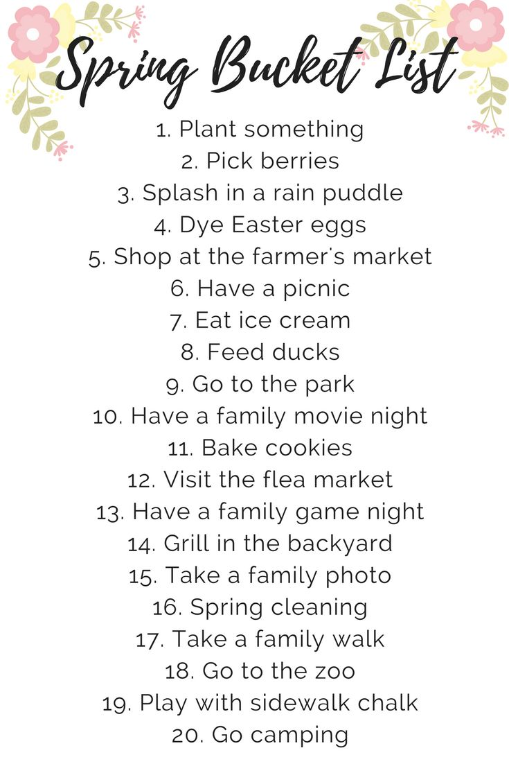 A kid and toddler-friendly spring bucket list with fun ideas for activities to do as a family with your kids this spring.